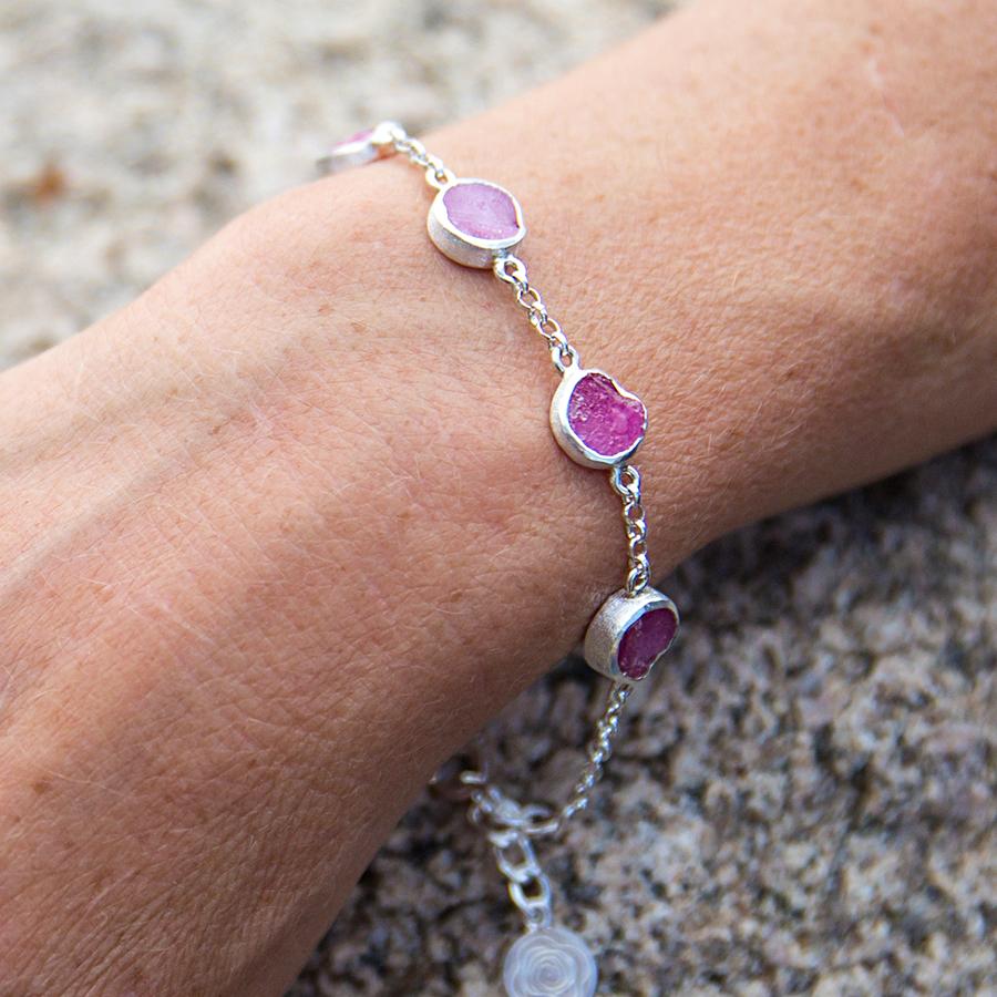 Ruby Gemstone Handmade Sterling Silver Ladies Bracelet