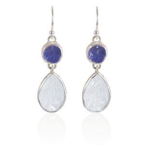 87b3334c4 ... Handmade Moonstone and Tanzanite Gemstone Sterling Silver Ladies  Earrings