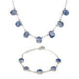 Handmade Tanzanite Gemstone Ladies Necklace And Bracelet Set