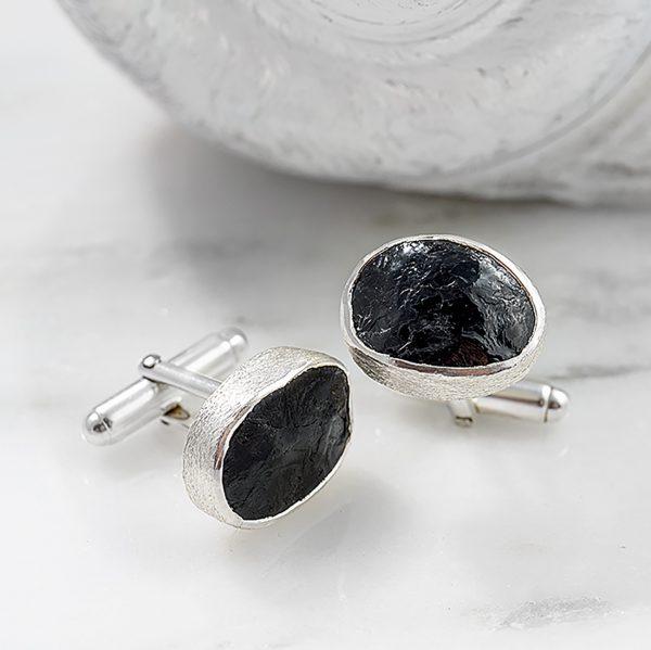 Black Tourmaline Gemstone Handmade Sterling Silver Cufflinks