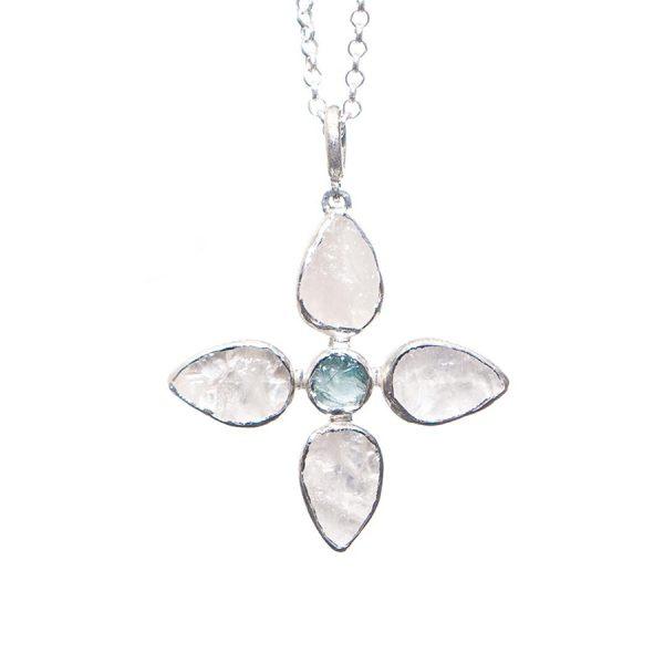 Designer Handmade White Quartz and Aquamarine Petal Pendant