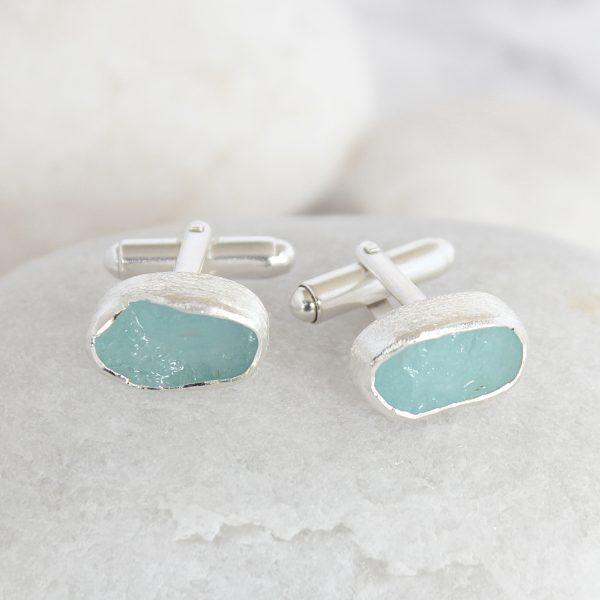 Natural Aquamarine Handmade Sterling Silver Mens Cufflinks