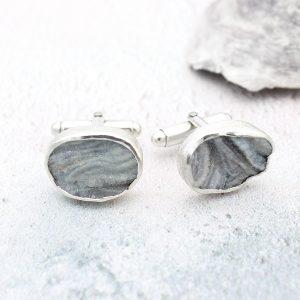 Grey Silver Drusy Handmade Sterling Silver Cufflinks