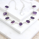 Amethyst Gemstone Sterling Silver Ladies Necklace