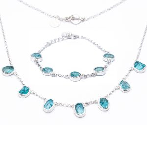 Handmade Apatite Gemstone Ladies Necklace And Bracelet Jewellery Set