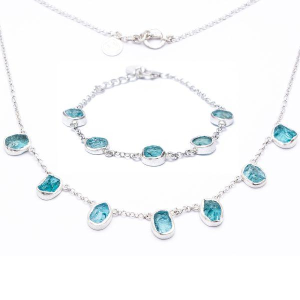 Handmade Apatite Gemstone Ladies Necklace And Bracelet Jewellery Set