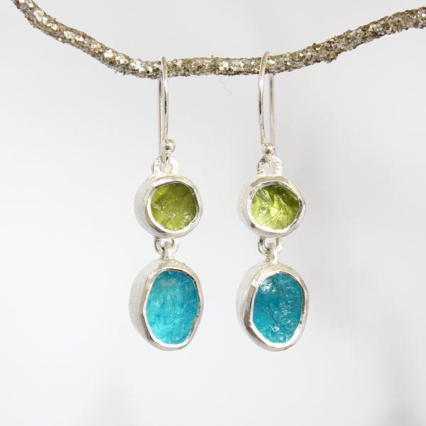 Apatite and Peridot Gemstone Handmade Silver Earrings
