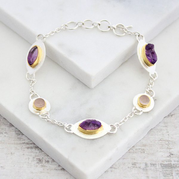 Handmade Amethyst with Rose Quartz Gemstone Sterling Silver Ladies Petal Bracelet
