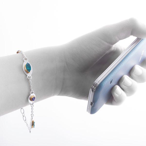 Handmade Apatite And Tanzanite Gemstone Sterling Silver Ladies Petal Bracelet