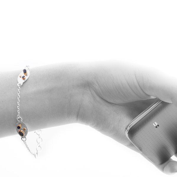 Handmade Black Tektite Stone Sterling Silver Petal Bracelet