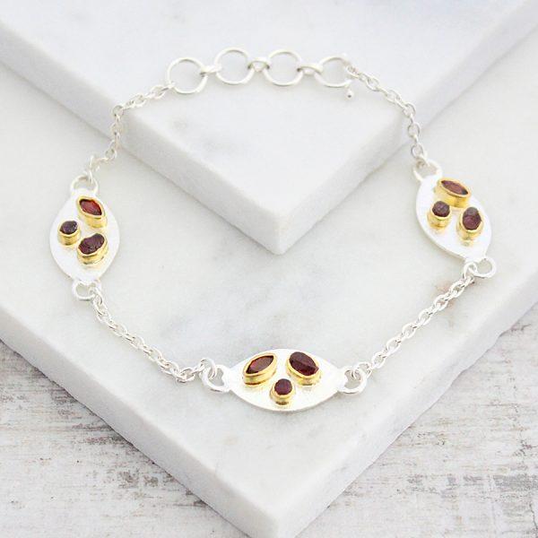 Handmade Garnet And Rhodolite Gemstone Sterling Silver Petal Bracelet