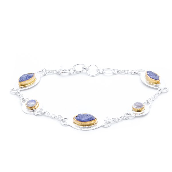 Handmade Tanzanite with Moonstone Gemstone Sterling Silver Ladies Petal Bracelet