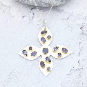 Handmade Tanzanite and Iolite Sterling Silver Ladies Pendant