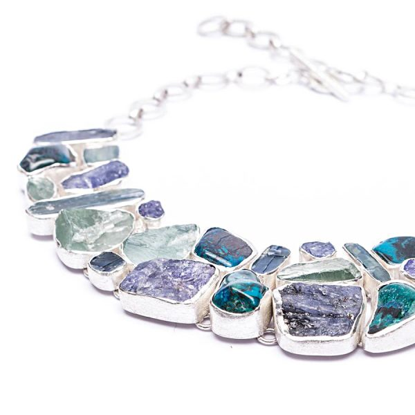 Aquamarine, Tanzanite, Chrysocolla, Kyanite Gemstone Statement Silver Necklace