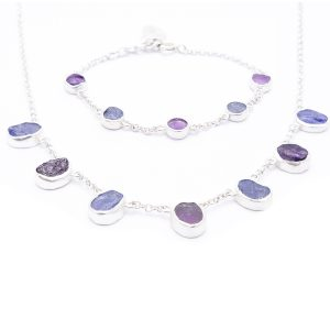 Handmade Amethyst and Tanzanite Gemstone Ladies Necklace And Bracelet Jewellery Set