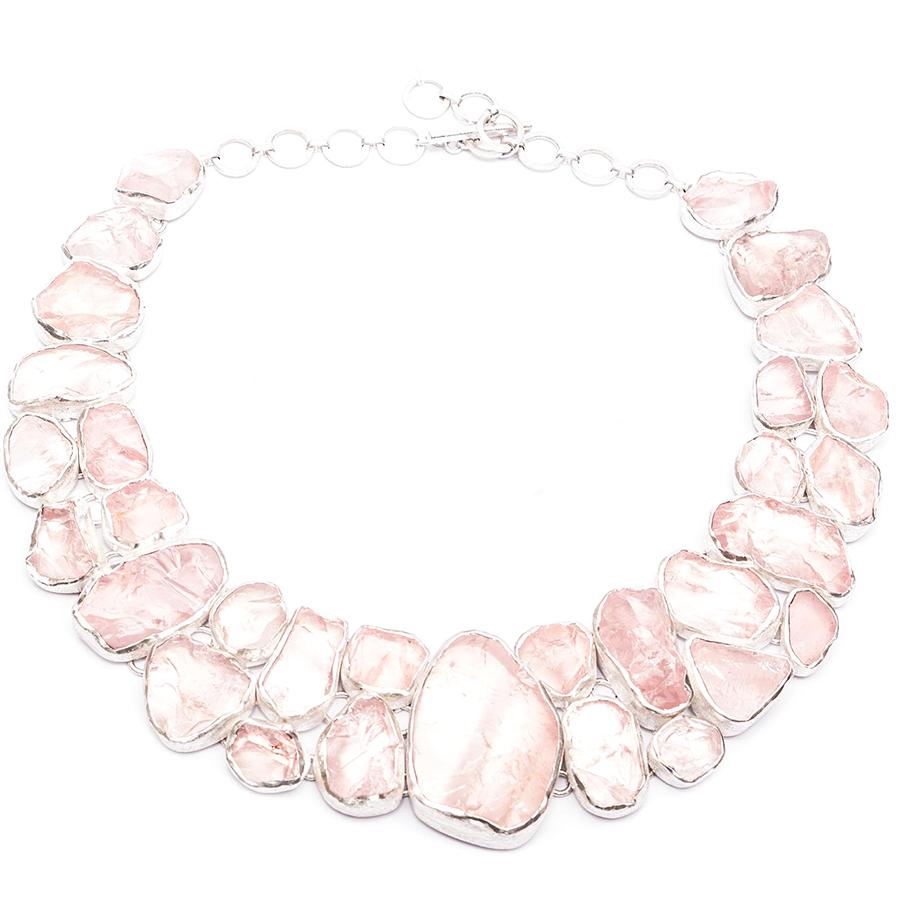 Favorite Rose Quartz Gemstone Statement Designer Ladies Silver Necklace QU48