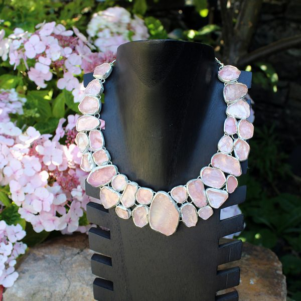 Rose Quartz Gemstone Statement Designer Ladies Silver Necklace
