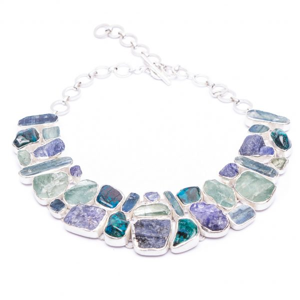 statement gemstone silver necklaces