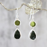 Peridot and Chrome Diopside Ladies Silver Earrings