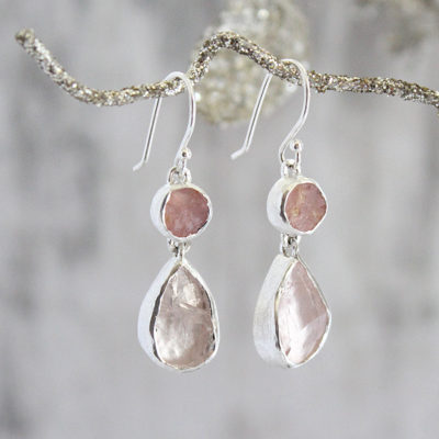 Handmade Designer Rose Quartz Gemstone Earrings