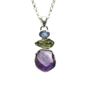 Amethyst, Tanzanite And Moldavite Gemstone Sterling Silver Ladies Pendant