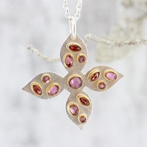 Handmade Garnet And Rhodolite Sterling Silver Ladies Pendant