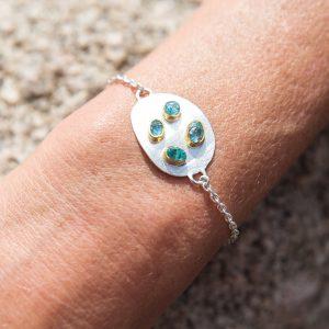 Handmade Apatite Gemstone Sterling Silver Pebble Ladies Bracelet