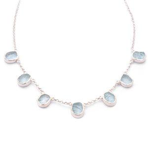 Aquamarine Gemstone Handmade Sterling Silver Ladies Necklace