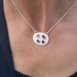 Handmade Tanzanite, Iolite And Moonstone Sterling Silver Ladies Necklace