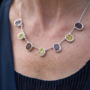 Pyrite And Smoky Quartz Handmade Ladies Sterling Silver Necklace