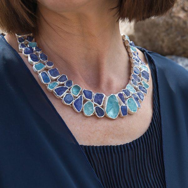 Tanzanite And Aquamarine Statement Handmade Ladies Sterling SilverNecklace