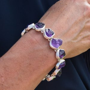 Handmade Ladies Amethyst Gemstone Necklace And Bracelet Set