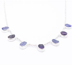 Amethyst and Tanzanite Gemstone Handmade Sterling Silver Ladies Necklace
