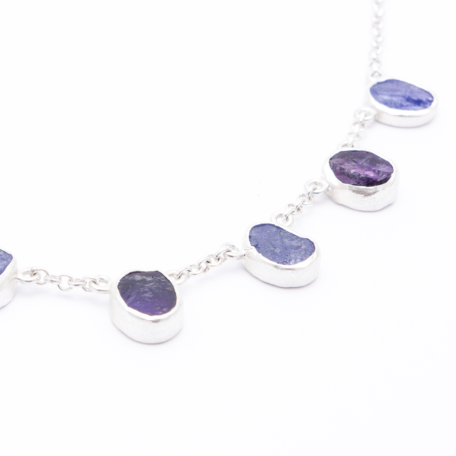 b81d4fd9c Amethyst and Tanzanite Gemstone Handmade Sterling Silver Ladies Necklace