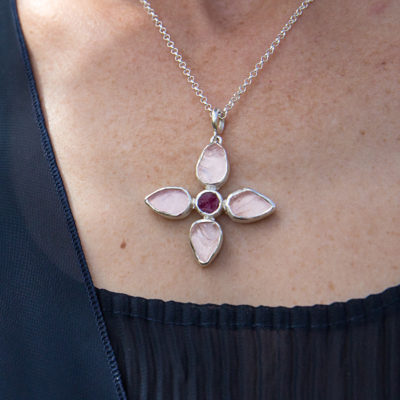 Handmade Designer Rose Quartz And Ruby Petal Pendant