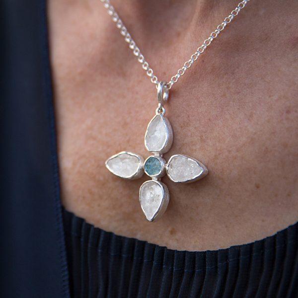 Handmade Designer White Quartz and Aquamarine Petal Pendant