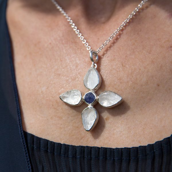 Handmade Designer White Quartz And Tanzanite Petal Pendant