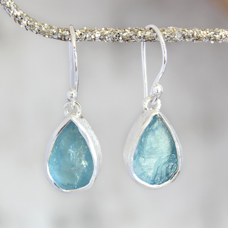 Aquamarine Gemstone Drop Las Sterling Silver Earrings