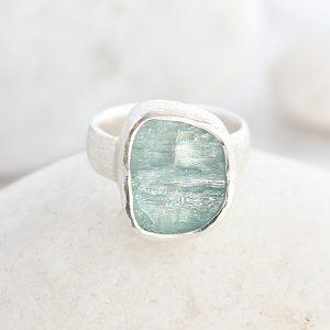 Aquamarine Gemstone Ladies Statement Sterling Silver Ring