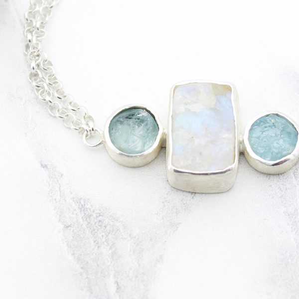 Moonstone And Aquamarine Handmade Sterling Silver Bracelet