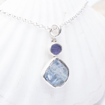 Moonstone And Tanzanite Handmade Ladies Silver Pendant