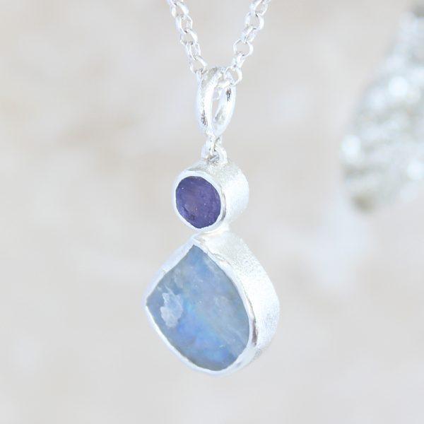 Moonstone And Tanzanite Handmade Ladies Silver Pendant