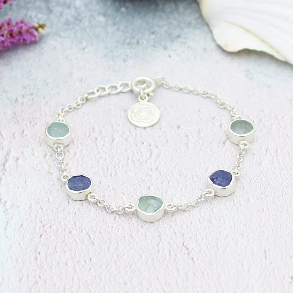 Aquamarine & Tanzanite Gemstone Sterling Silver Handmade Ladies Bracelet