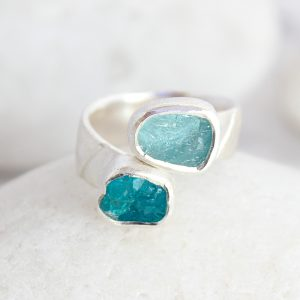 Aquamarine and Apatite Gemstone Ladies Statement Adjustable Silver Ring