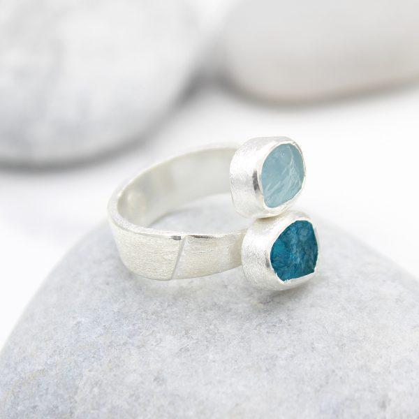 Aquamarine and Apatite Gemstone Ladies Statement Adjustable Silver Ring