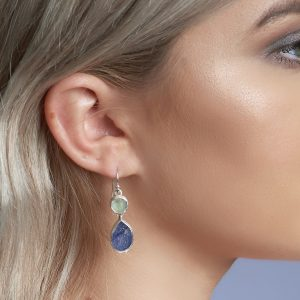 Handmade Aquamarine and Tanzanite Gemstone Sterling Silver Ladies Earrings
