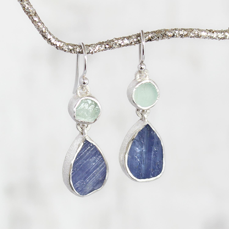 Handmade Aquamarine And Tanzanite Gemstone Sterling Silver