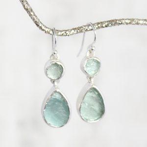 Handmade Designer Aquamarine Gemstone Sterling Silver Ladies Earrings