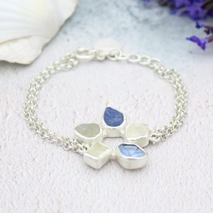 Moonstone and Tanzanite Gemstone Handmade Sterling Silver Bracelet