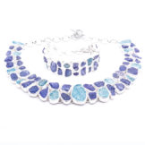 Tanzanite And Aquamarine Designer Necklace Bracelet Set